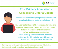 Post Primary Admissions Update